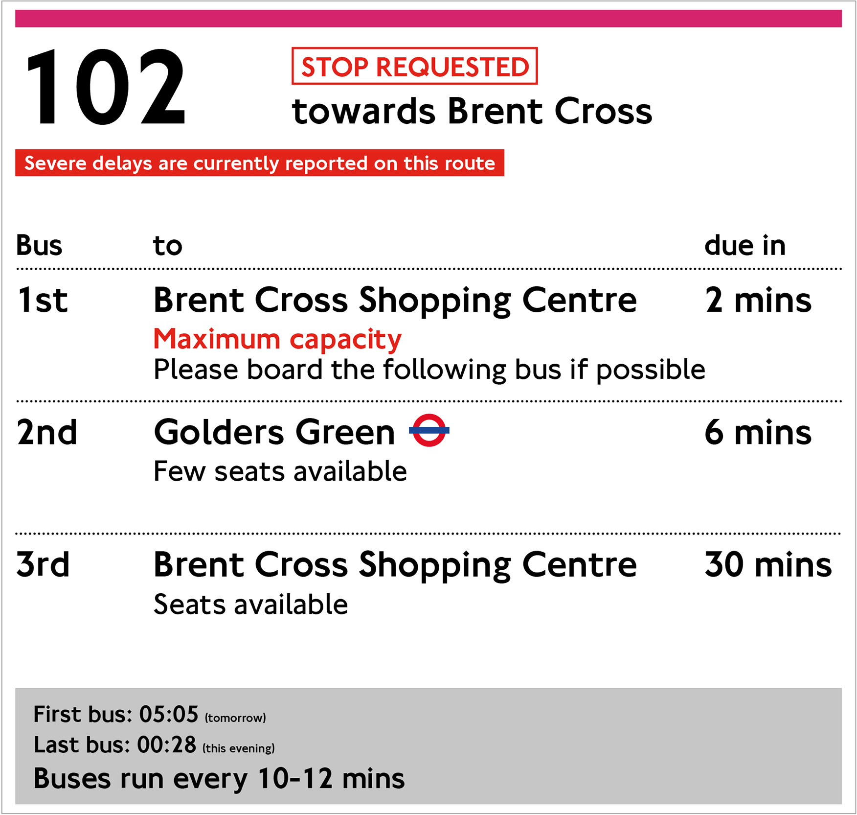 Route-specific timetable with traffic and seating information